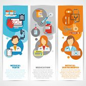 stock photo of blood test  - Doctor banner vertical set with medical tests instruments medication elements isolated vector illustration - JPG