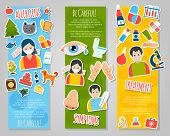 picture of allergy  - Allergies vertical banner set with allergen disease symptoms stickers isolated vector illustration - JPG