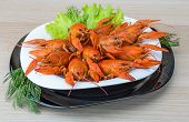 pic of boil  - Boiled crayfish in the bowl with dill - JPG