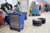 foto of chassis  - Blue metal tool cabinet at service station - JPG