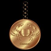 image of cancer horoscope icon  - Bronze Charm for Cancer Over a Black Background - JPG