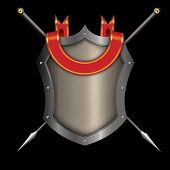 stock photo of spears  - Silver riveted shield with red ribbon and two spears on black background for the design - JPG