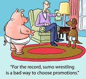 pic of wrestling  - The boss is using sumo wrestling as a way to avoid making a decision about which business person should be promoted - JPG
