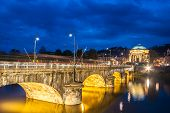 pic of turin  - Panoramic view of bridge Vittorio Emanuele I and Chiesa della Gran Madre di Dio church in Turin, Italy, Europe. Shot in he dusk.