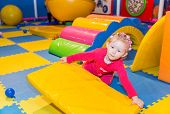 picture of playground  - Happy child girl on playground - JPG