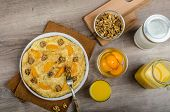 image of sprinkling  - Sweet Egg omelet with walnuts peaches  - JPG
