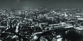 picture of london night  - London aerial view panorama at night with urban architectures and bridges - JPG