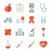 stock photo of heartbeat  - Medicine and health care icons - JPG