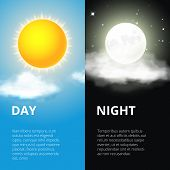 Постер, плакат: Day and night sun moon