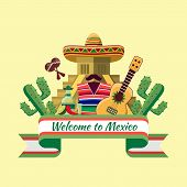 image of food pyramid  - Welcome to mexico poster - JPG