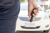 picture of key  - A hand holding car keys and a remote control for key - JPG