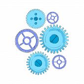 stock photo of mechanical drawing  - Cog Wheel Set Blue Mechanical Detail Part Sketch Isolated Vector Illustration - JPG