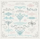image of scroll design  - Set of Hand Drawn Colorful Doodle Design Elements - JPG