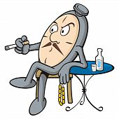 stock photo of ouzo  - Cartoon of pocket clock relaxing drinking ouzo - JPG