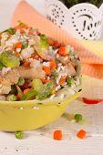 image of saucepan  - Frozen vegetables in an old enamel saucepan before cooking - JPG