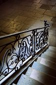 image of mansion  - Old wrought iron handrail inside a French mansion - JPG