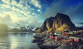 stock photo of reining  - Fishing hut at spring sunset  - JPG