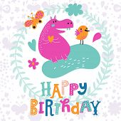 image of hippopotamus  - Lovely childish card with sweet hippopotamus and bird with butterfly in vector - JPG