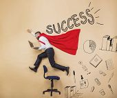 stock photo of superman  - Manager wearing cloak of superman - JPG