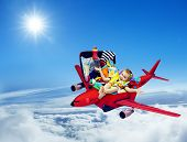 picture of packing  - Airplane Travel Baby Kid Packed Suitcase Child Flying inside Luggage Plane to Holiday Vacation over Blue Sky - JPG