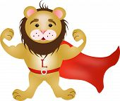 foto of cloak  - Cartoon illustration of strong lion with red cloak - JPG
