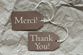picture of thankful  - Two Brown Labels Or Tags With White Ribbon On Crumpled Paper Background - JPG