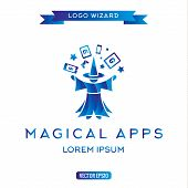 picture of warlock  - Logo magician manages gadgets - JPG