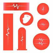 stock photo of heartbeat  - Medical Concept Illustration Collection of Assorted Cardiogram Banners or Heartbeat Labels on Red Background - JPG