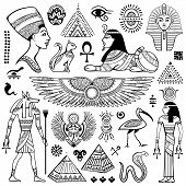 stock photo of hieroglyphic symbol  - Set of Vector isolated Egypt symbols and objects - JPG