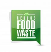 stock photo of reduce  - reduce food waste message pointer sign concept illustration design over white background - JPG