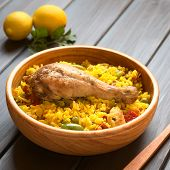 stock photo of chicken  - Chicken paella a traditional Valencian  - JPG