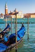 image of gondola  - Gondolas in a summer day in Venice Italy - JPG