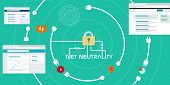 picture of neutral  - Net Neutrality network internet concept vector illustration - JPG