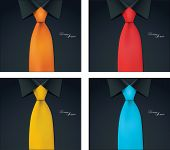 pic of black tie  - 4 color variables of shirt and tie illustration - JPG