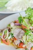pic of thai cuisine  - Spicy salad of roasted beef Thai style cuisine - JPG