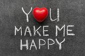 stock photo of you are awesome  - you make me happy phrase handwritten on blackboard with heart symbol instead of O - JPG