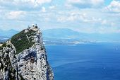 picture of gibraltar  - Elevated view of The Rock and Spanish coastline Gibraltar United Kingdom Western Europe - JPG