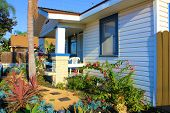 pic of drought  - Drought tolerant landscaping in the front yard of a California home - JPG