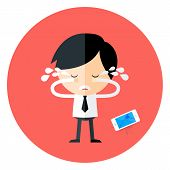 foto of cry  - Crying Businessman with Broken Phone Circle Icon - JPG