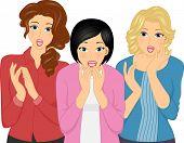 image of unbelievable  - Illustration of Three Girls Looking Surprised - JPG