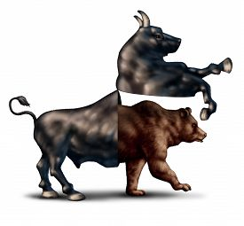 stock photo of flatline  - Bear market correction financial business concept as a bull opening up and revealing an emerging bearish stock market as a metaphor for change in investing sentiment and markets headed towards negative territory - JPG