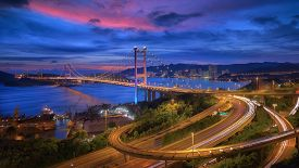 stock photo of hong kong bridge  - Tsing - JPG