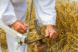 stock photo of scythe  - Man with hammer and iron tool on the tree stump is sharpening his scythe - JPG