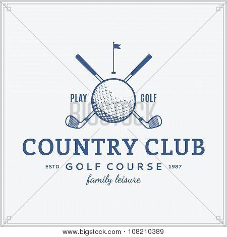 Постер, плакат: Golf Country Club Label, холст на подрамнике