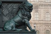 stock photo of munich residence  - Lion on the Monument of Maximilian Joseph at the National Theater in Munich - JPG
