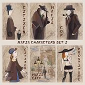 Постер, плакат: Mafia City Characters Set cardgame Citizen Mafia Cop Prostitute