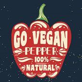 Постер, плакат: Vegan Typographic Print With A Pepper