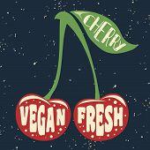 Постер, плакат: Vegan Typographic Print With Cherry