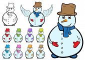 Постер, плакат: Clipart with snowmen