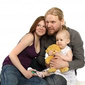 stock photo of nuclear family  - Happy family - JPG